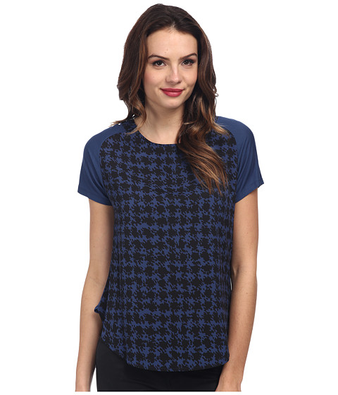 DKNYC - Abstract Houndstooth Crepe De Chine Printed Front Tee (Dark Sky) Women