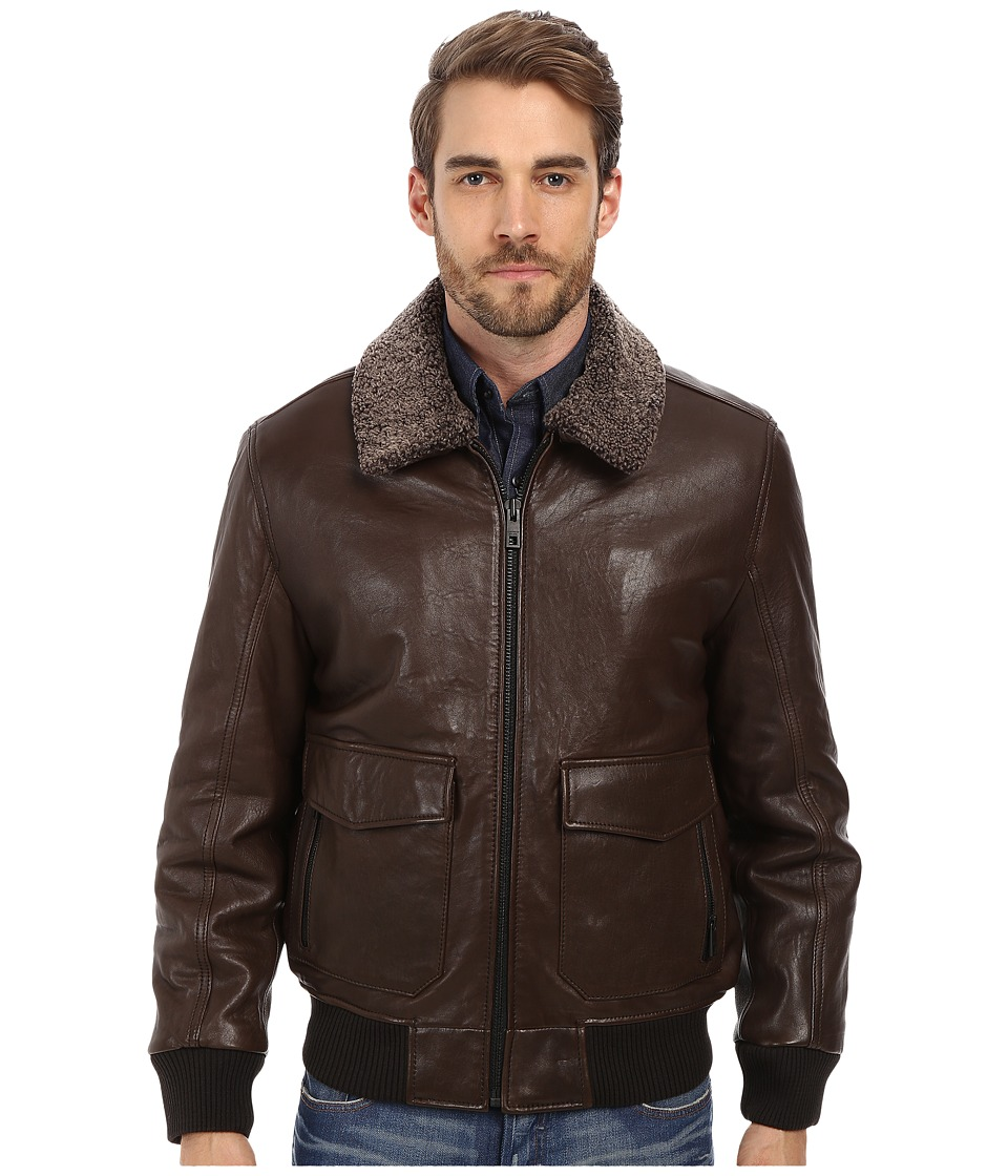 Andrew Marc x Richard Chai - Felix French Rugged Lamb Aviator Jacket w/ Shearling Collar (Espresso) Men's Coat