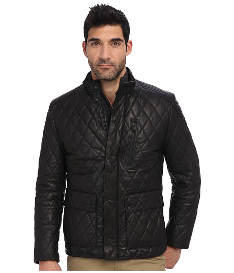 Andrew Marc x Richard Chai - Keelan Italian Lambskin Diamond Quilted Down Puffer Coat (Black) Men's Coat