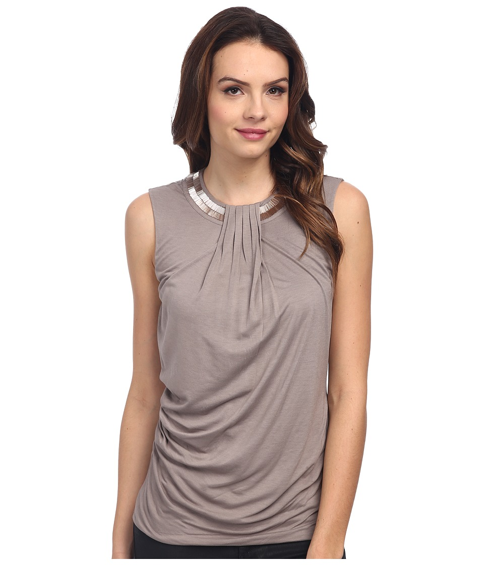 DKNYC - Embelished Neck Drape Front Top (Mink) Women's Sleeveless