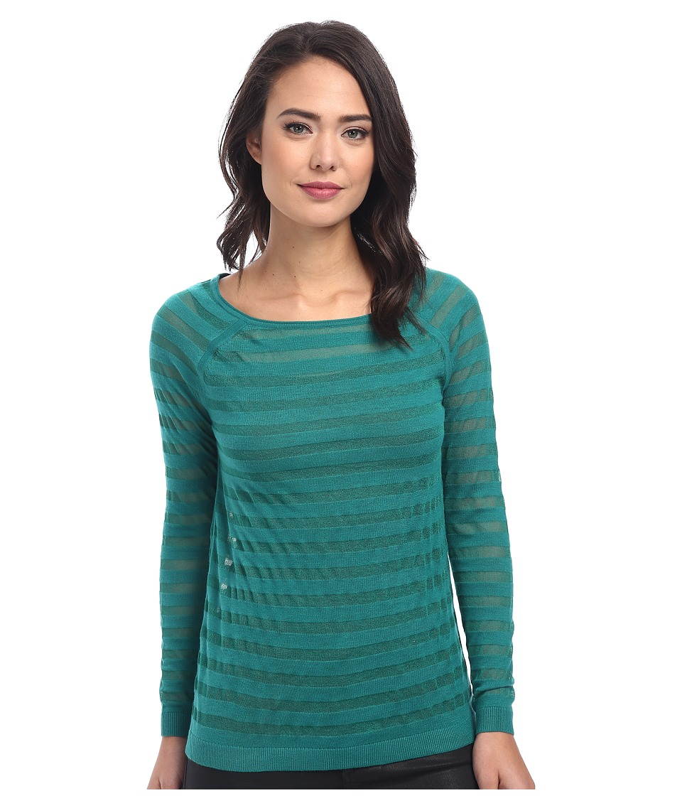 DKNYC - Sheer Striped Boatneck Pullover (Fresh Green) Women