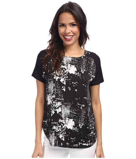 DKNYC - City Lights Light Weight Satin Printed Front Tee (Black) Women's Short Sleeve Pullover