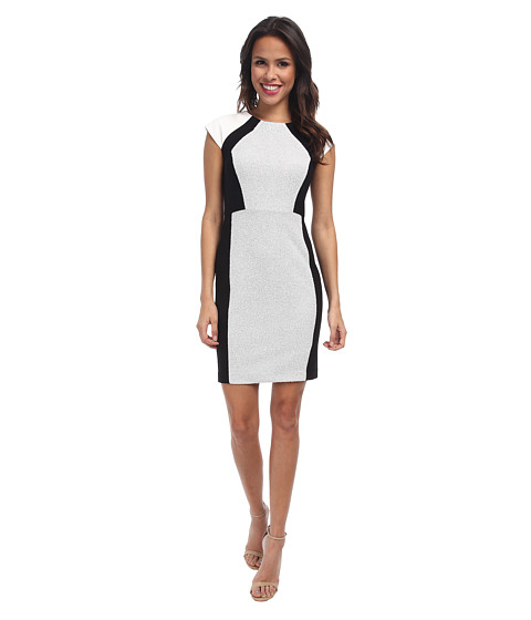 DKNYC - Ponte and Small Scale Faux Leather Snake Pieced Dress (Shimmer) Women's Dress