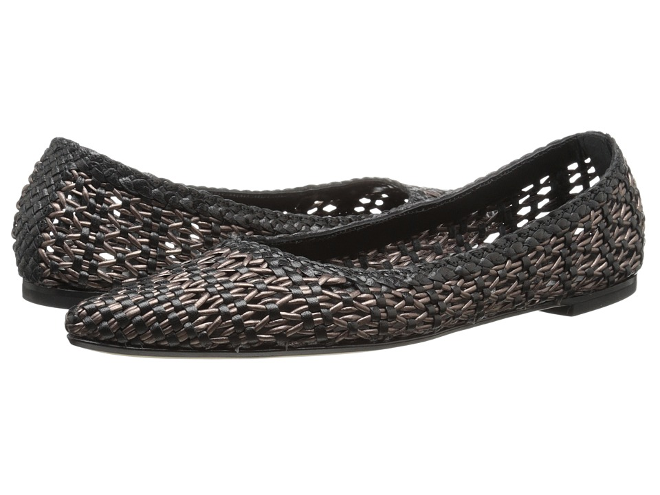 Aquatalia - Donnie (Black/Gunmetal Woven) Women's Dress Flat Shoes