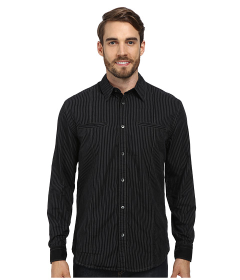 DKNY Jeans - L/S Color Block Stripe Shirt-City Press (Black) Men's Long Sleeve Button Up