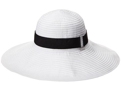 LAUREN by Ralph Lauren - Signature GrosGrain Sunhat (White/Black) Caps