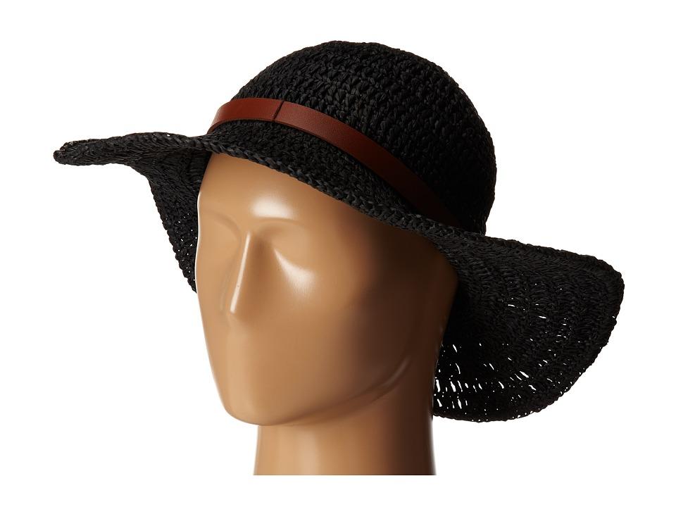 LAUREN by Ralph Lauren - Crochet Packable Hat w/ Belt (Black) Caps