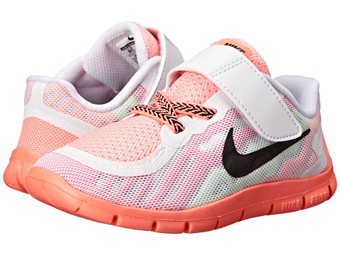 Nike Kids - Free 5 (Infant/Toddler) (White/Pink Pow/Lava Glow/Black) Girls Shoes