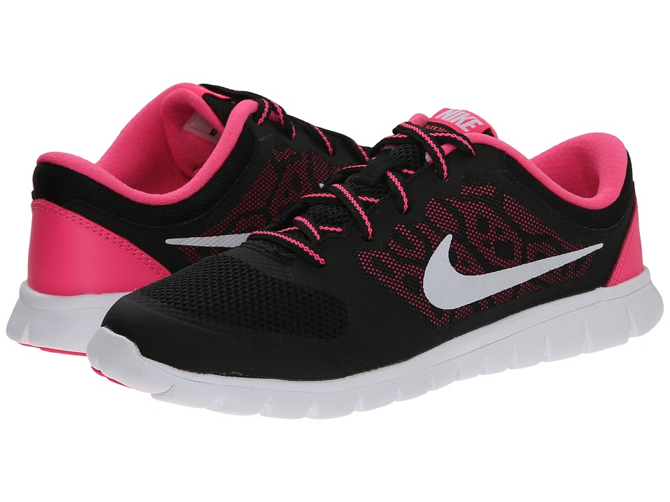 Nike Kids - Flex 2015 Run (Little Kid) (Black/Pink Pow/White) Girls Shoes