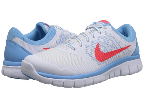Nike Kids - Flex 2015 Run (Big Kid) (White/Lakeside/Bright Crimson) Girls Shoes