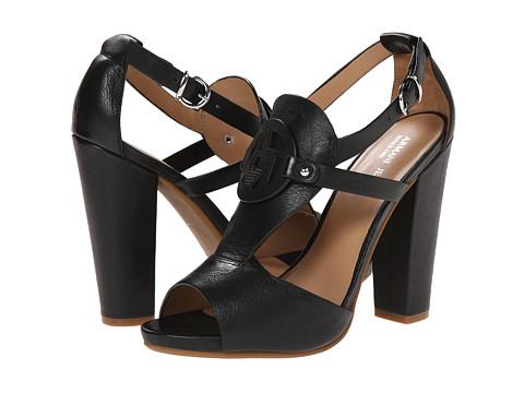 Armani Jeans - Logo Block Heel Sandal (Black) Women's Sandals