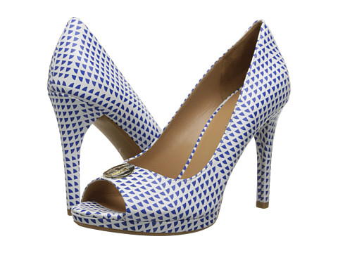 Armani Jeans - Printed Peep Toe Pump (White) High Heels