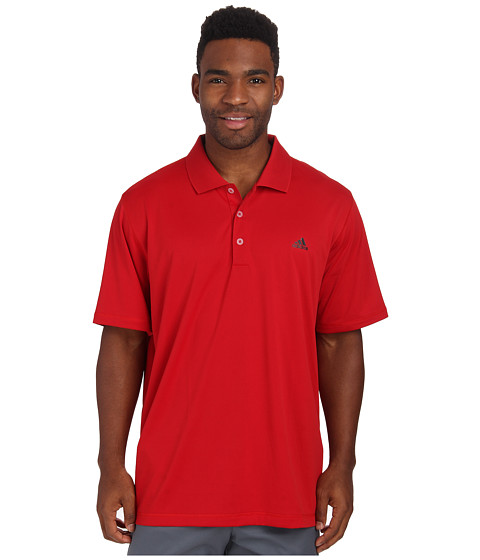 adidas Golf - Solid Jersey Polo w/ Front Logo (Power Red/Black) Men's Short Sleeve Knit
