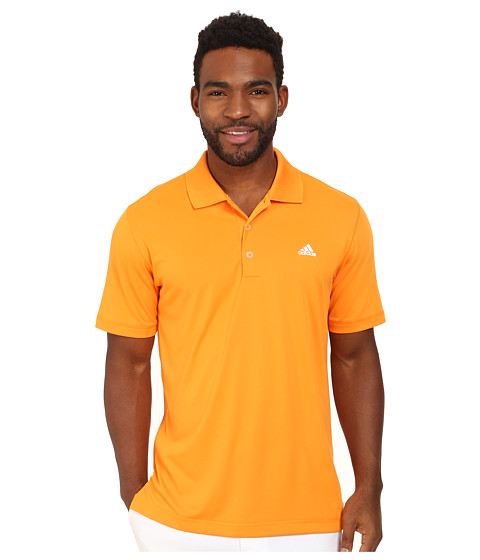 adidas Golf - Solid Jersey Polo w/ Front Logo (Bright Orange/White) Men's Short Sleeve Knit