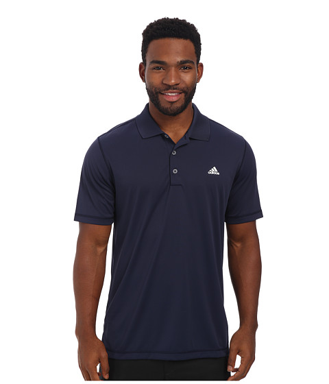 adidas Golf - Solid Jersey Polo w/ Front Logo (Navy/White) Men's Short Sleeve Knit