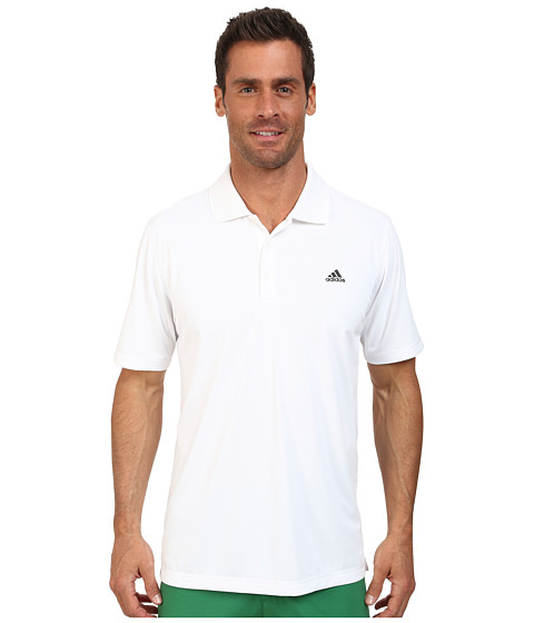 adidas Golf - Solid Jersey Polo w/ Front Logo (White/Black) Men's Short Sleeve Knit
