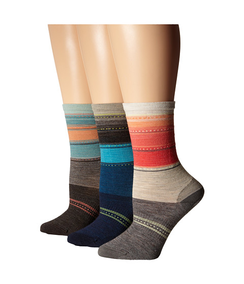 Smartwool - Sulawasi Stripe 3-Pair Pack (Oatmeal Heat) Women's Crew Cut Socks Shoes
