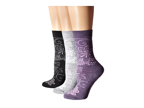 Smartwool - Floral Scroll 3-Pair Pack (Black/Light Gray Heather/Desert Purple Heather) Women's Crew Cut Socks Shoes