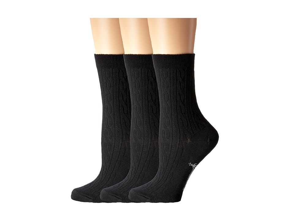 Smartwool - Cable II 3-Pack (Black) Women's Crew Cut Socks Shoes