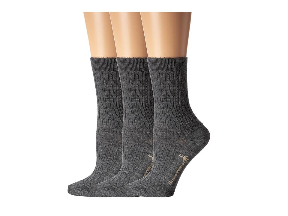 Smartwool - Cable II 3-Pack (Medium Grey) Women's Crew Cut Socks Shoes