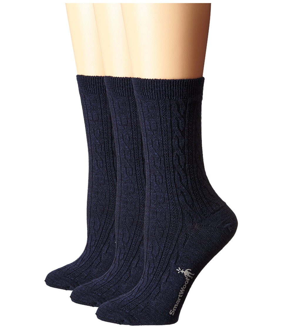 Smartwool - Cable II 3-Pack (Deep Navy Heather) Women's Crew Cut Socks Shoes