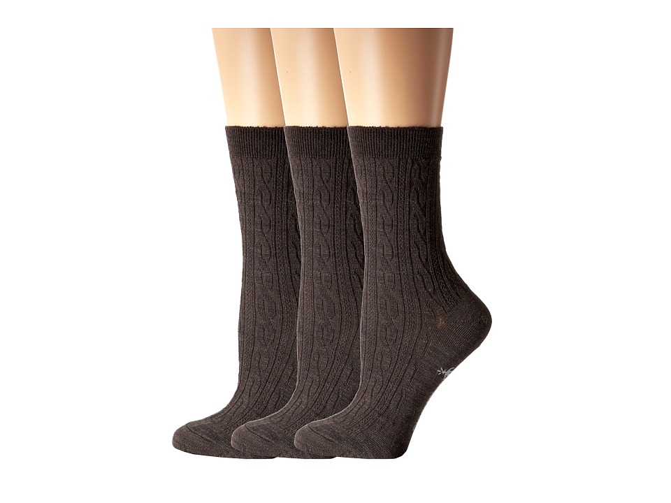 Smartwool - Cable II 3-Pack (Chestnut Heather) Women's Crew Cut Socks Shoes
