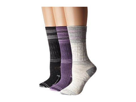 Smartwool - Metallic Striped Cable (Ash) Women's Crew Cut Socks Shoes