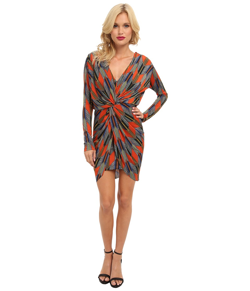 Tbags Los Angeles - L/S Front Knot Dress w/ Deep V-Back Detail (Rust/Blue/Yellow) Women