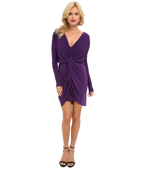 Tbags Los Angeles - L/S Front Knot Dress w/ Deep V-Back Detail (Purple) Women's Dress