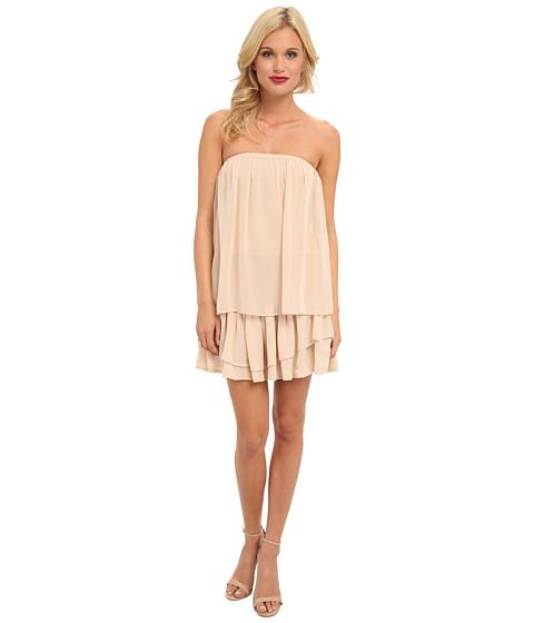 Tbags Los Angeles - Chiffon Tube Dress w/ Layered Ruffle Mini Skirt (Stone) Women