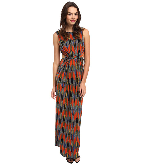 Tbags Los Angeles - Sleeveless Maxi w/ Waist Cutout (Rust/Blue/Yellow) Women's Dress