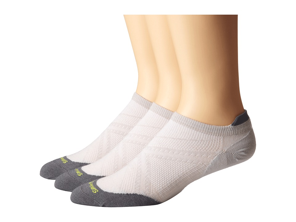 Smartwool - PhD Run Ultra Light Micro 3-Pair Pack (Silver) Men's Crew Cut Socks Shoes