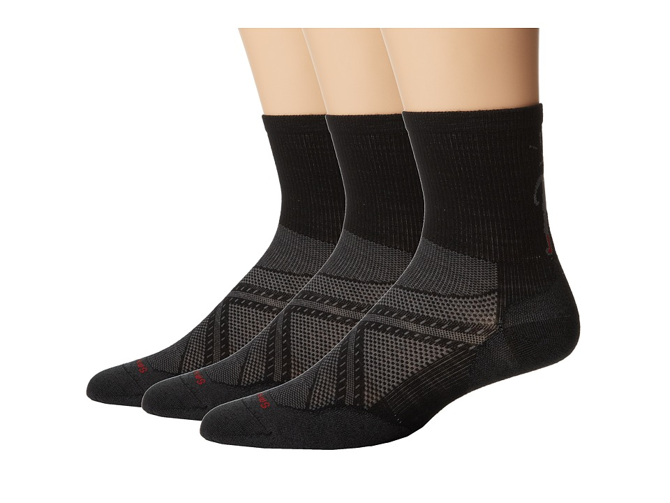 Smartwool - PhD Run Ultra Light Mid Crew 3-Pair Pack (Black) Men's Crew Cut Socks Shoes