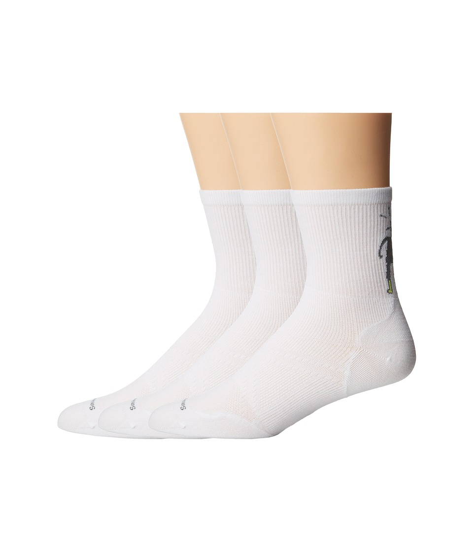 Smartwool - PhD Run Ultra Light Mid Crew 3-Pair Pack (White) Men's Crew Cut Socks Shoes