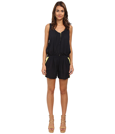 Armani Jeans - Color Block Romper (Indigo/Yellow) Women's Jumpsuit & Rompers One Piece