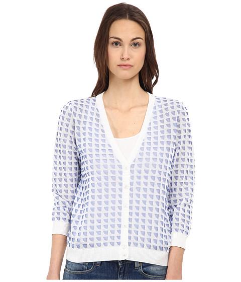 Armani Jeans - Jacquard Cardigan (White/Blue) Women's Sweater