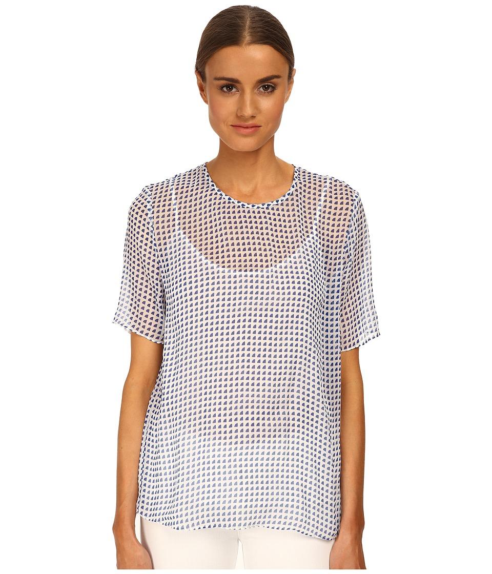 Armani Jeans - Sheer Printed Blouse (Blue/White Pattern) Women