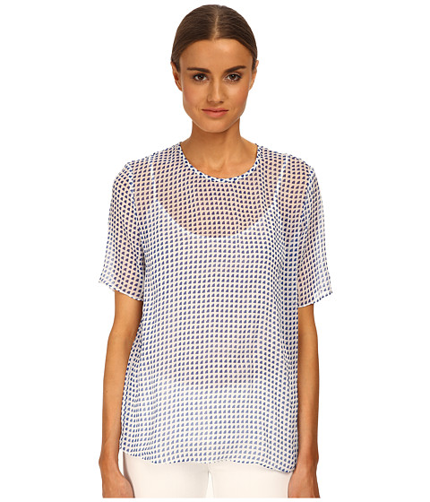 Armani Jeans - Sheer Printed Blouse (Blue/White Pattern) Women's Blouse