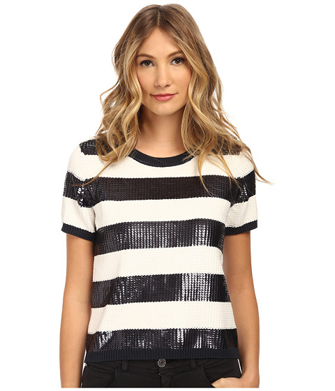 Armani Jeans - Sequin Stripe Top (Indigo) Women's Sweater