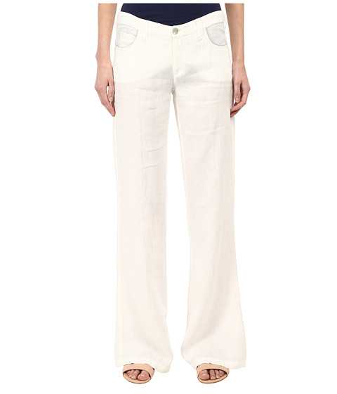 Armani Jeans - Flared Linen Pant (Ivory) Women's Casual Pants