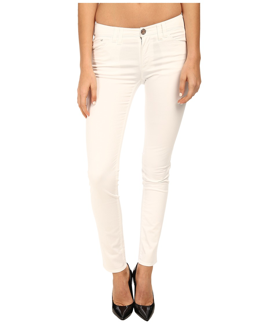 Armani Jeans - Slim Fit Cotton Satin Jean in White (White) Women's Jeans