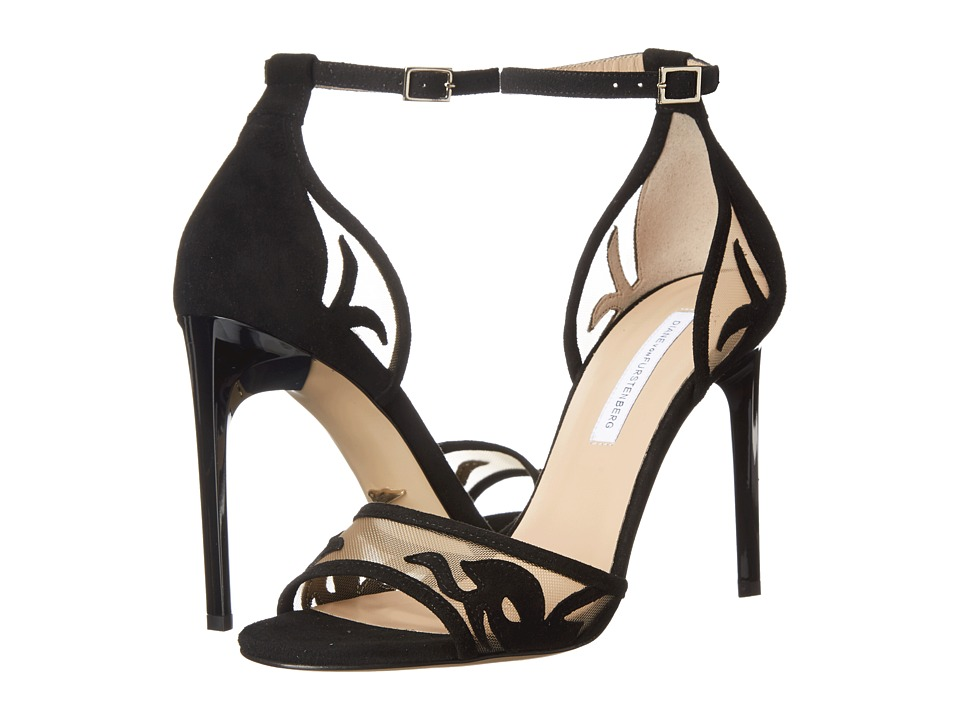 Diane von Furstenberg - Vanessa (Black Suede/Nude Mesh) High Heels