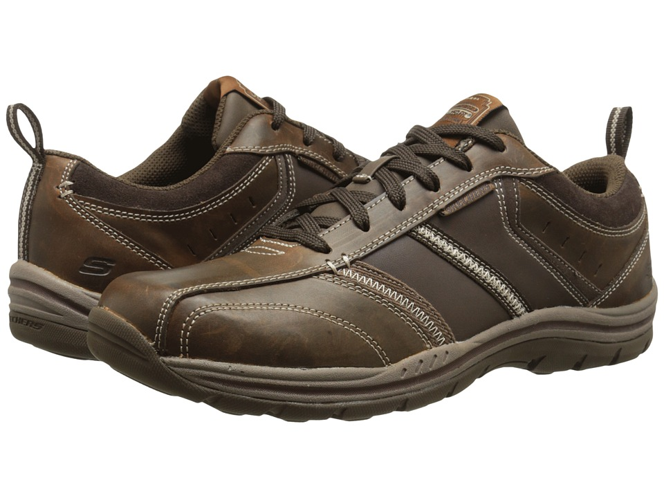 SKECHERS - Expected Devention (Dark Brown) Men's Lace up casual Shoes