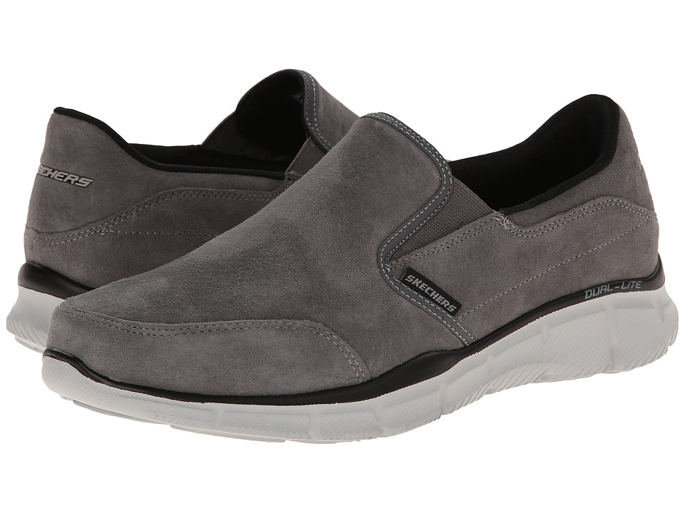 SKECHERS - Equalizer Slip-On Nubuck (Charcoal) Men's Slip on Shoes