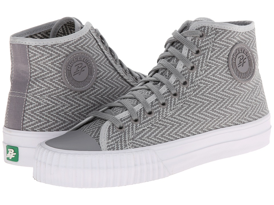 PF Flyers - Center Hi Zig Zag (Grey Canvas) Men's Lace up casual Shoes