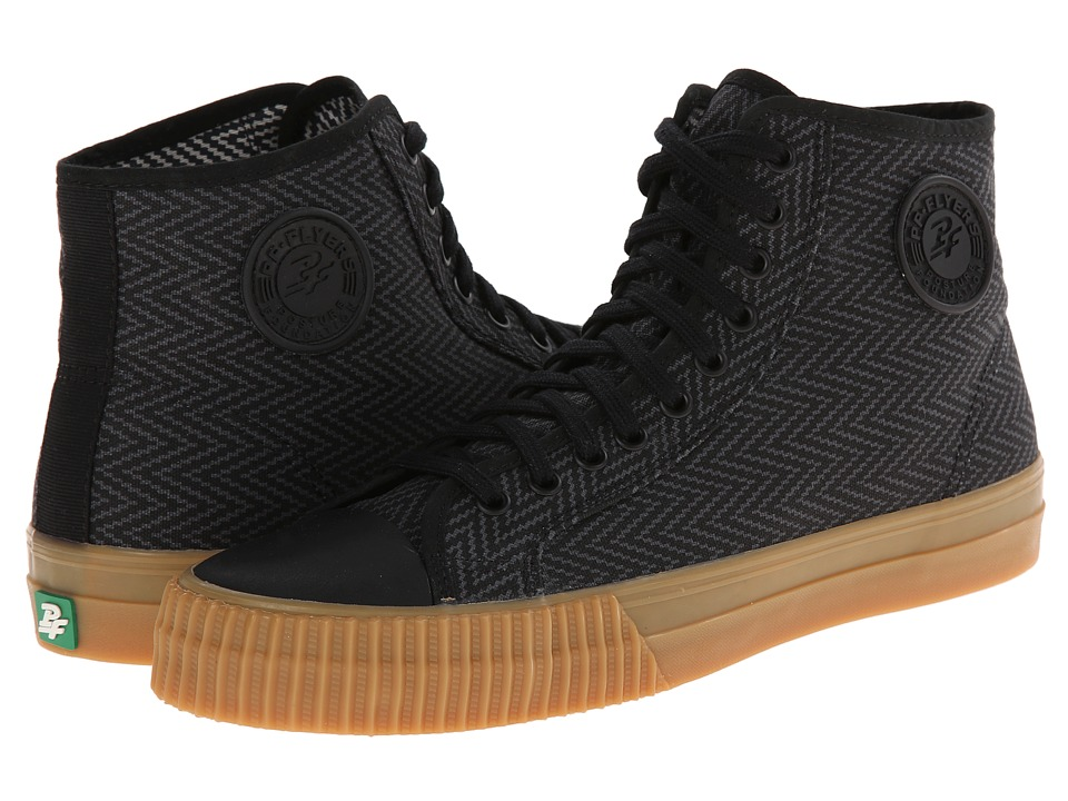PF Flyers - Center Hi Zig Zag (Black Canvas) Men's Lace up casual Shoes