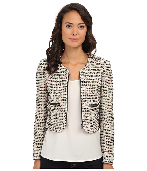 French Connection - Electric Check Boucle Jacket (Cream/Black Mix) Women's Coat