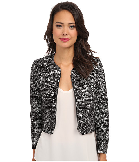 French Connection - Velveteen Tweed Jacket (White/Black) Women's Coat