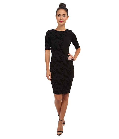 French Connection - Vine Bloom Flock Dress (Black Flock On Navy) Women
