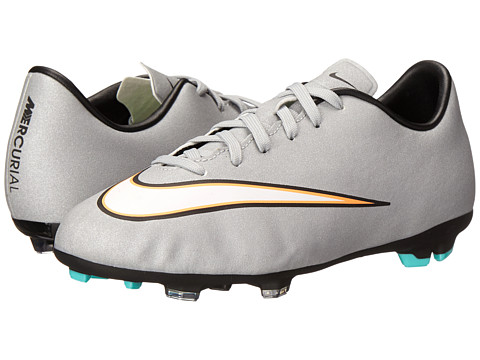 Nike Kids - Jr Mercurial Victory V CR FG Soccer (Little Kid/Big Kid) (Metallic Silver/Hyper Turquoise/Black) Kids Shoes